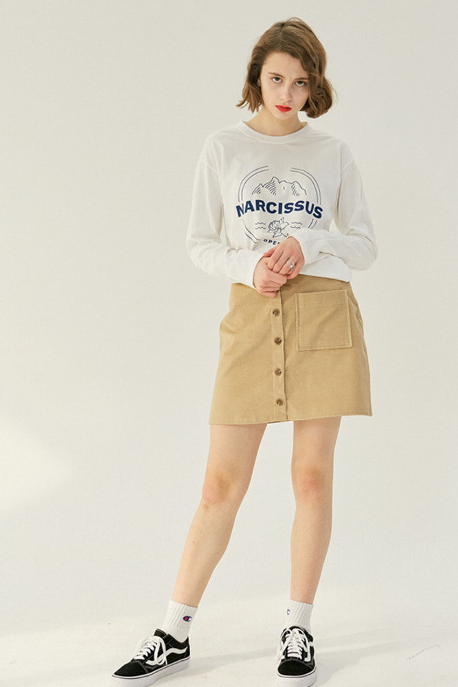 STAFF BUTTON SKIRT_beige