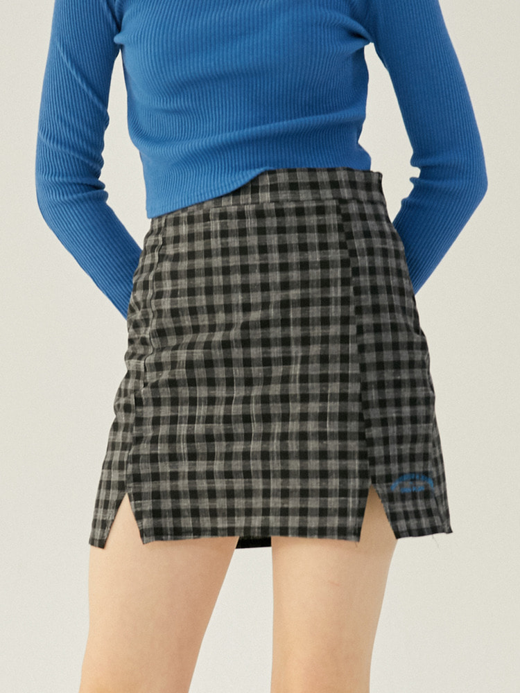 TWEET CHECK SKIRT_black