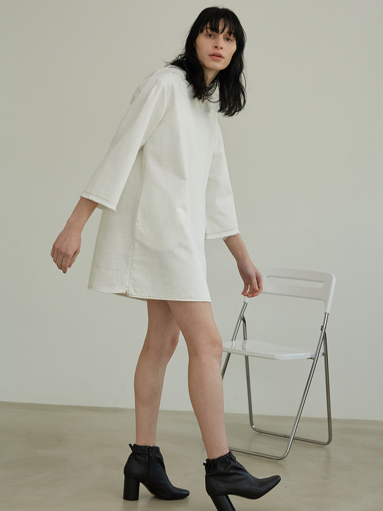 POST DENIM DRESS_white