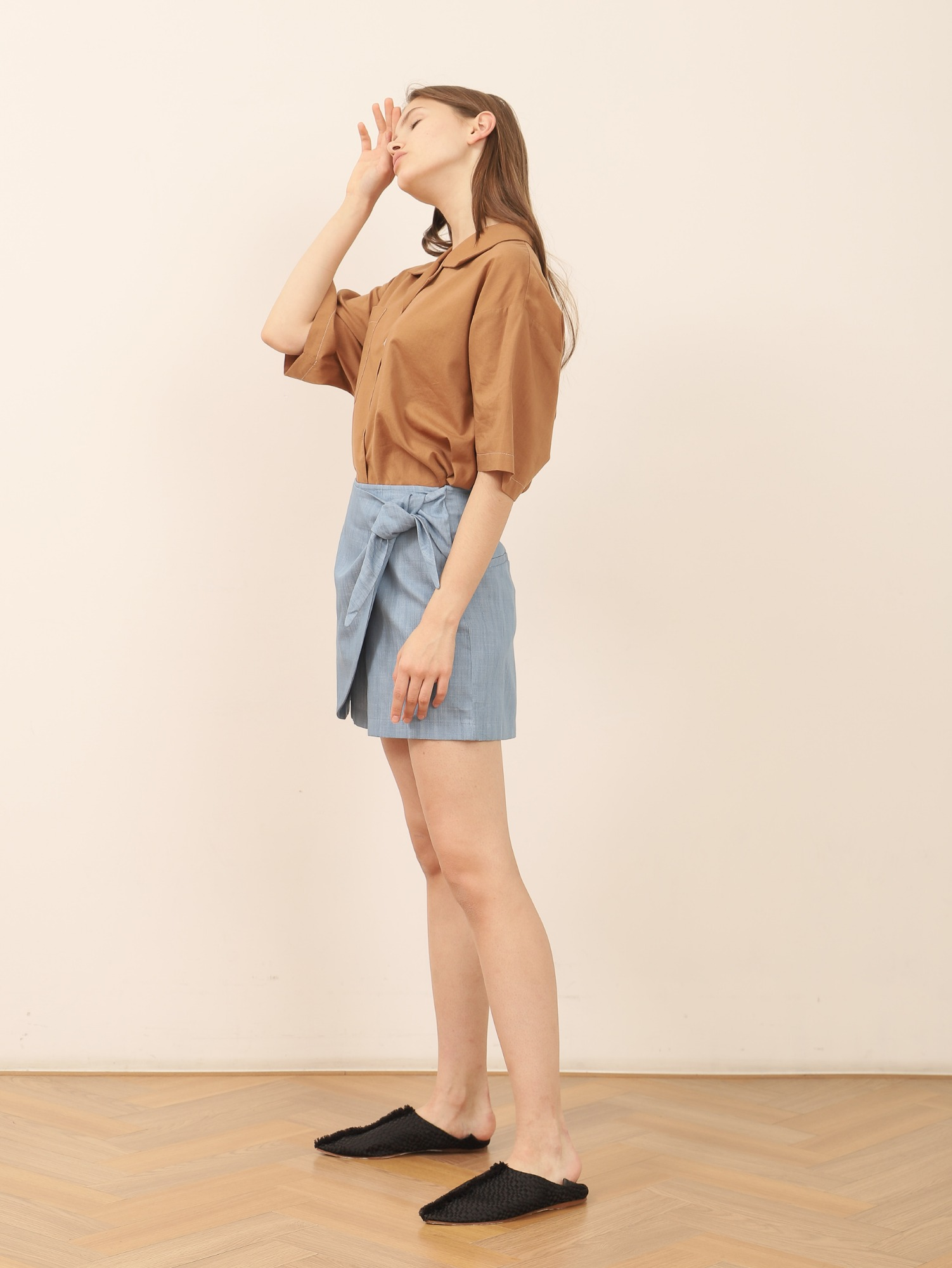 하프 반바지 HARP WRAP DENIM SHORTS