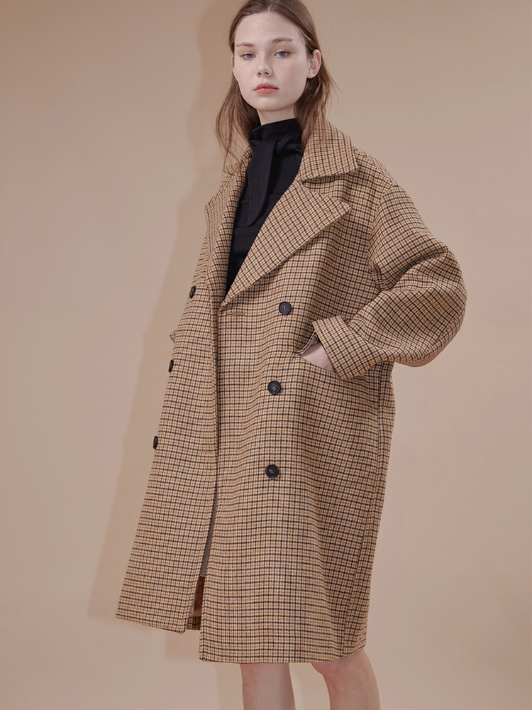 CODINGTON OVERSIZED COAT_beige check