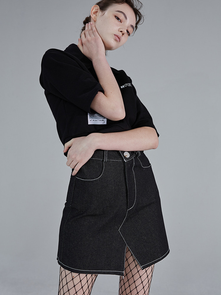 BETWEEN DENIM SKIRT_black