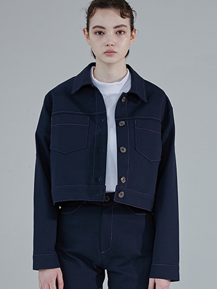 STAPLE COTTON JACKET_navy