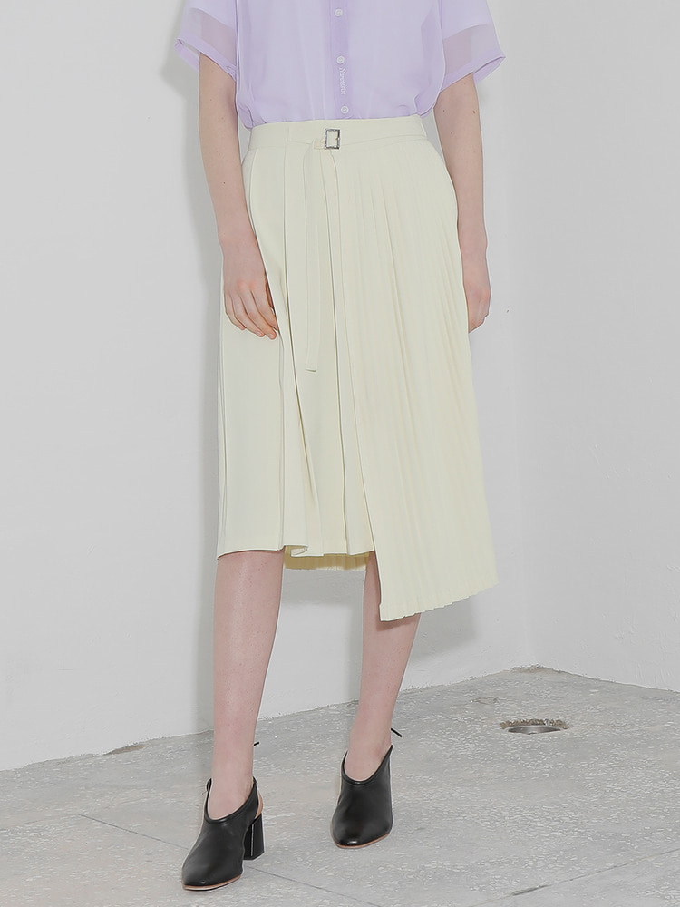 FOUND PLEATED SKIRT_yellow