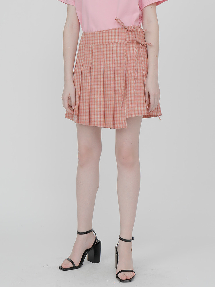 FLOW PLEATED WRAP SKIRT_pink