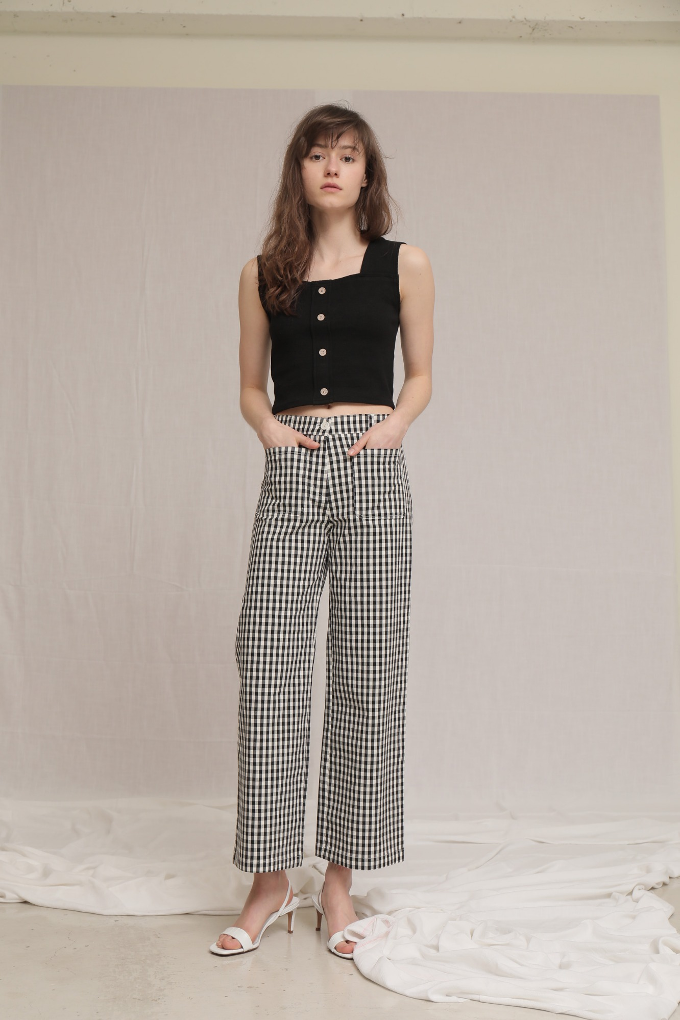데어 깅엄 바지 DARE GINGHAM RELAXED PANTS